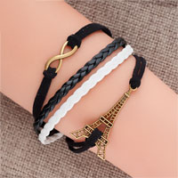 New Vintage Iced Out Silver Infinity Bracelet Eiffel Tower Black Leather Rope