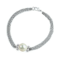 Pearl Chunk Chain Link Lobster Clasp Pearl Bracelet