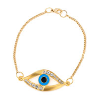 Gold Tone Chain Good Luck Crystal Rhinestone Evil Eye Charms Bracelet Bangle