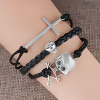 Vintage Iced Out Silver Cross Skull Black Leather Bracelet