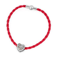 Silver Plated Best Mom Charm Red Leather Braided Charm Bracelet