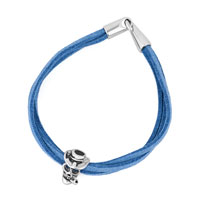 New Hot Silver Plated Skull Charm Blue Leather Charm Bracelets