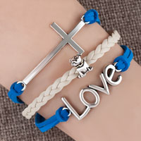 Vintage Iced Out Silver Infinity Love Heart Mom Charm Black Blue Leather Bracelet