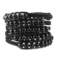 Black Turquoise Beads Fashionable Wrap Bracelet On Black Leather