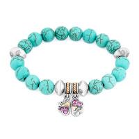 New Blue Gemstone Crystal Cz Mother Daughter Charm Bangle Bracelet