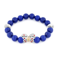New Sapphire Blue Gemstone Butterfly Mother Daughter Charm Bangle Bracelet