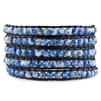 Light Blue Turquoise Beads Wrap Bracelet On Black Leather For Women