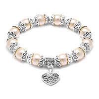 Heart Dangle Freshwater Ivory Pearl Silver P Spacer Beaded Bracelet