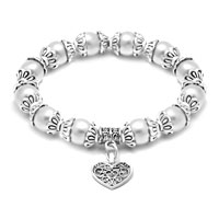 Heart Dangle Freshwater White Pearl Silver P Spacer Beaded Bracelet