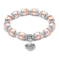 Heart Dangle Freshwater Pink Pearl Silver P Spacer Beaded Bracelet