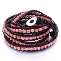 Classic Pin Bead Wrap Bracelet On Brown Cotton Rope Black Leather