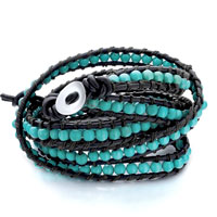 Popular Blue Turquoise Beads Wrap Bracelet On Black Leather Rope