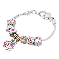 Mom Daughter Together Heart Flower Dangle Pink Crystals Charms Bracelet