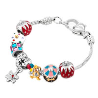 Happy Birthday Heart Love Dangle Carousel Ice Cream Colorful Crystals Charms Bracelet