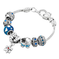 Baby Carriage Lucky Earth World Globe Heart Love Dangle Blue Crystals Charms Bracelet
