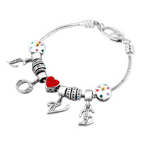 Mom Happy Birthday Red Heart Silver Tone L O V E Dangle Crystals Charms Bracelet