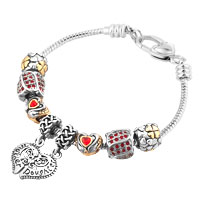 Mother Daughter Together Heart Love Dangle Red Crystals Charms Bracelet