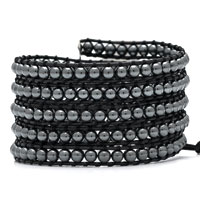 Black Light Gray Iron Stone Beads Wrap Bracelet On Leather Women