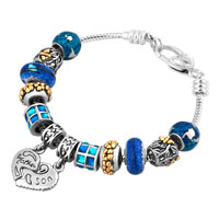 Mother Son Together Heart Love Dangle Sapphire Blue Crystals Charms Bracelet
