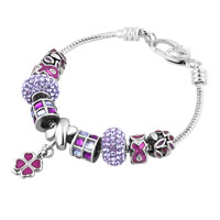 Purple Birthstones Petal Four Leaf Clover Drip Gum Dangle Crystals Charms Bracelet