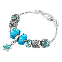 Blue Snowflake Lucky Flower Dangle Silver Tone Elements Crystal Charms Bracelet