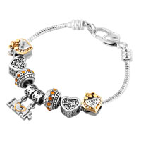 Mother Daughter Together Heart Love Dangle Yellow Crystals Charms Bracelet