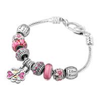 Mother Daughter Together Heart Love Dangle Rose Pink Crystals Charms Bracelet