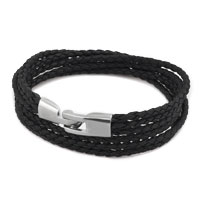 Black Simple Vogue Weaving Three Chains Cortical Bracelet