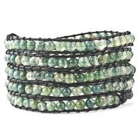 Agate Beads Wrap Bracelet On Black Leather Little Metal For Women