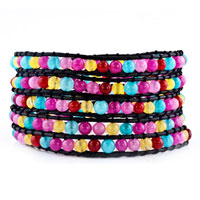 Colorful Beads On Black Leather Turquoise Wrap Bracelet Snap Button Lock Bracelets Women