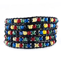 Alternating Colorful Bowlder Wrap Bracelet On Black Leather Women