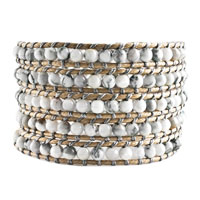 Classic White Green Turquoise Beads Wrap Bracelet On Gray Leather