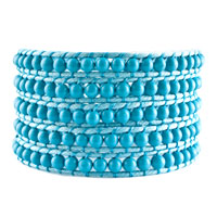 Classic Turquoise Beads On Lake Blue Leather Wrap Bracelets Snap Button Lock Women