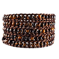 Brown Beads On Leather Wrap Bracelets Snap Button Lock Women