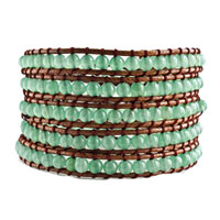 Stunning Pale Green Agate Beads Wrap Bracelet On Brown Cotton Women