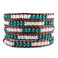 Blue White Agate Beads Wrap Bracelet On Brown Cotton Snap Button Lock