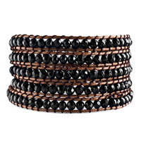Classic Black Beads Wrap Bracelet On Brown Cotton Snap Button Lock