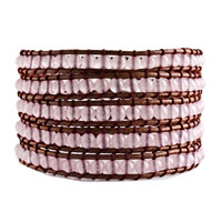 Brand New Classic Pink Agate Beads Wrap Bracelet On Brown Cotton