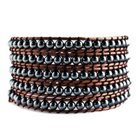 Beautiful Heidan Stone Beads Wrap Bracelet Brown Cotton Chip Women