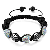Shamballa Bracelet Heart Crystal Aurore Boreale Oval Eye