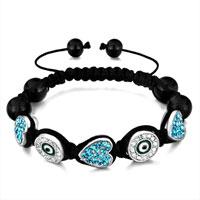 Shamballa Bracelet Heart Aquamarine Rhinestone Round Eye Clear Crystal