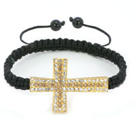Black Lace Silver Iced Out Topaz Yellow Crystal Sideways Cross Macrame Adjustable Lace Bracelet