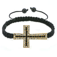 Mothers Day Gifts Black Lace Silver Iced Out Classic Black Crystal Sideways Cross Macrame Adjustable Lace Bracelet