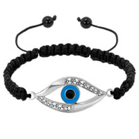 Evil Eyes Bracelets Clear White Crystal Hamsa Hand Evil Eye Black String Adjustable Lace Bracelet