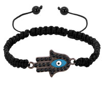Evil Eyes Bracelets Black Crystal Light Blue Hamsa Hand Evil Eye On Exquisite Palm Bracelets