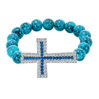 Turquoise Beads Sideways Iced Out Sapphire Blue Crystal Cross Shamballa Beaded Stretch Bracelet