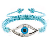 Evil Eyes Bracelets Clear White Crystal Hamsa Hand Evil Eye Aquamarine Blue Bracelets