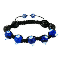 Shamballa Bracelet Fad Macrame Bling Jewelry Blue Evil Eye Beads Adjustablebead