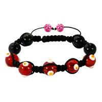 Shamballa Bracelet Fad Macrame Bling Jewelry Bright Red Evil Eye Beads Bracelets