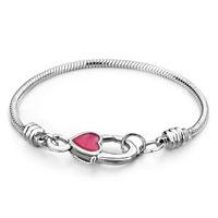 Snake Charms Snake Chains Snake Bracelets Pink Heart Snake Chain Charm Starter Bracelets Bracelet